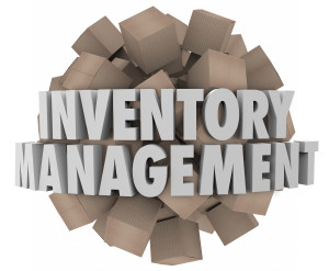 Inventory Management words in white 3d letters on a ball or sphere of cardboard boxes representing merchandise or stock in a logistics chain for a business or company